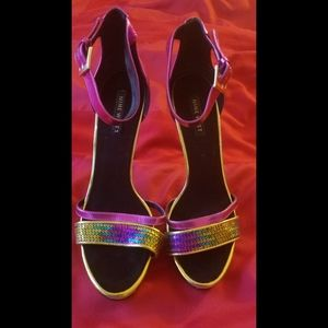 Nine West Sequins Strapped Metallic Heels Size 10